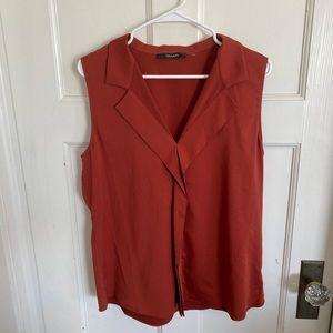 Tahari dark rust orange sleeveless blouse size L
